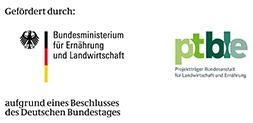 Bild - Kombimarke gefördert durch: Bundesministerium für Ernährung und Landwirtschaft + Projektträger Bundesanstalt für Landwirtschaft und Ernährung